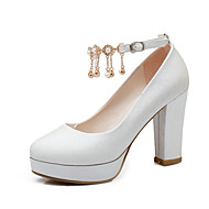 Women's Pearl Chain Wedding Shoes / Platform / Round Toe Heels Party & Evening / Dress Black / Red / White