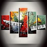 handgemaltes Ölgemälde Doppel Tastatur klingen abstrakte Gemälde mit gestreckten Rahmen Satz von 5
