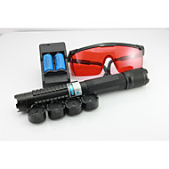 LS-820 Blue Laser Pointer Flashlight With Rechargeable Battery Goggles Laser Caps Burning Lasers