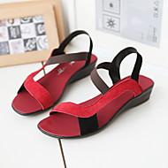Sandály - Semiš - Na klínu / S otevřenou špičkou - Dámská obuv - Černá / Fialová / Červená / Černá a červená - Outdoor / Šaty / Běžné -