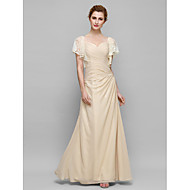 Lanting Sheath/Column Mother of the Bride Dress - Champagne Ankle-length Short Sleeve Chiffon