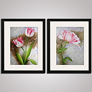 Framed  Pink Tulip Painitng Modern Canvas Print Art Set of 2 for Home Decoration Ready To Hang