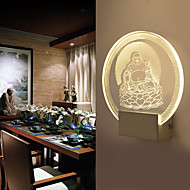 3D Chinese Culture Theme Design Maitreya Buddha (a God) Sitting on a Lotus Wall Lamp 5W Art Lighting Round Shape Sconce