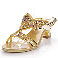 Women's Shoes Leather Chunky Heel Heels Sandals / Slippers Party & Evening / Dress / Casual Gold