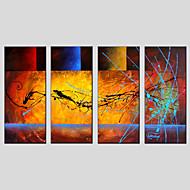 מצויר ביד מופשטמודרני / קלאסי / מסורתי / פסטורלי / סגנון ארופאי ארבעה פנלים בד ציור שמן צבוע-Hang For קישוט הבית