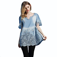 Women's Casual/Daily Plus Size / Street chic Spring Blouse,Embroidered V Neck Sleeveless Blue Cotton Medium