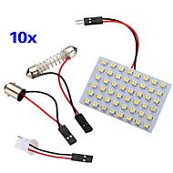 10 개는 3528 SMD 48 따뜻한 흰색 주도 패널 LED 라이트 + T10 / BA9S 모듈 + 더블 팁 (직류 12V)