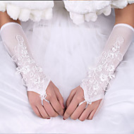 Longueur Coude Mitaine Gant Soie Satin Elastique Gants de Mariée Printemps Eté Automne Hiver Nœud Dentelle