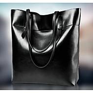Women Cowhide Shopper Tote - Black