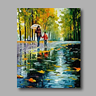 """Ready to Hang Stretched Hand-Painted Oil Painting 24""""x32"""" Canvas Wall Art Modern Lanscape Mother Child Umbrella"""