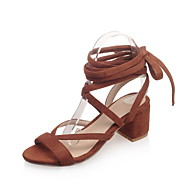 Women's Shoes Microfibre Chunky Heel Heels / Slingback / Round Toe / Open Toe Sandals Outdoor / Party & Evening