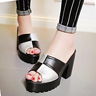 Women's Summer Platform Leatherette Dress Casual Chunky Heel Platform Black Pink White