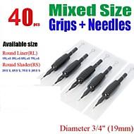 """40Pcs Basekey  Disposable Tattoo Needle 3/4"""" Grip Tube Mixed   9RS*5,7RS*5, 5RS*5 ,3RS*5  ,5RL*5 7RL*5 ,3RL*5, 1RL*5"""