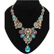 נשים שרשראות הצהרה אבן יקרה סגסוגת טיפה אופנתי כחול צבע מסך תכשיטים