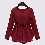 Women's Casual/Daily Plus Size / Street chic Blouse,Solid Round Neck Long Sleeve Blue / Red / Black Linen Medium