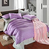 Light purple and pea green 100% Tencel Soft Bedding Sets Queen King Size Solid color Duvet Cover Set