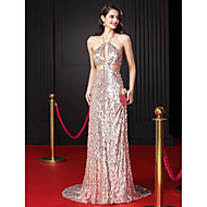 TS Couture® Formal Evening Dress-Pearl Pink Sheath/Column Halter Sweep/Brush Train Sequined