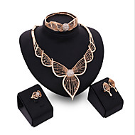 May Polly New exaggerated leaves party necklace earrings bracelet bracelet set
