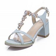 נעלי נשים-סנדלים-דמוי עור-נעלים עם פתח קדמי-שחור / ורוד / Almond-שטח / משרד ועבודה / קז'ואל-עקב עבה