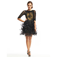 TS Couture® Cocktail Party Dress - Black A-line Bateau Short/Mini Lace / Tulle