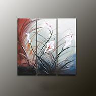 handgemalten Blumen / Pflanzen modernes Ölgemälde, Leinwand drei Platten
