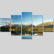 Landschap / Modern Canvas Afdrukken Vijf panelen Klaar te hangen , Horizontaal