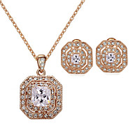 HKTC Classic 18k Rose Gold Plated Clear Square Crystal Vintage Necklace and Earrings Bridal Jewelry Sets