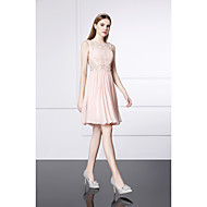 Cocktail Party Dress-Pearl Pink A-line Jewel Short/Mini Silk / Satin Chiffon