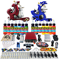 Solong Tattoo Complete Tattoo Kit 2 Pro Machine Guns 14 Inks Power Supply Foot Pedal Needles Grips Tips TK226