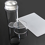 Unique New Design Pure Clear Jelly Silicone Nail Art Stamper Scraper with Cap Transparent Nail Stamp Stamping Tools