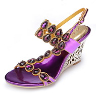 Women's Shoes Leather Wedge Heel Heels Sandals Party & Evening / Dress / Casual Pink / Purple / Gold