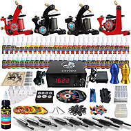 Solong Tattoo Complete Tattoo Kit 4 Pro Machine s 54 Inks Power Supply Foot Pedal Needles Grips Tips TKD01