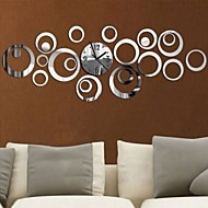 Fashion Circles 3D Modern Mirror Wall Clock WatchesSticker Decal Home DIY Decor