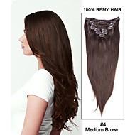 18inch 7ks rovné remy vlasy klip na prodlužování vlasů # 4 středně hnědá
