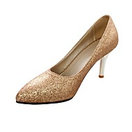 Women's Shoes Leatherette Stiletto Heel Heels Heels Wedding / Office & Career / Party & Evening Silver / Gold