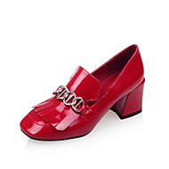 Women's Shoes Patent Leather Chunky Heel Heels / Square Toe Heels Party & Evening / Dress / Casual Black / Red