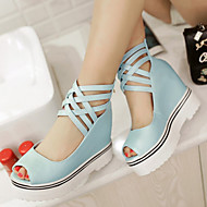 Women's Shoes Leatherette Wedge Heel Peep Toe / Fashion Boots Sandals Office & Career / Dress / Blue / Pink / White