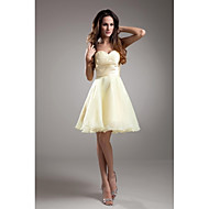 Lanting Knee-length Taffeta Bridesmaid Dress - Daffodil A-line Strapless