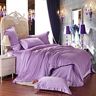 Light purple  100% Tencel Soft Bedding Sets Queen King Size Solid color Duvet Cover Set