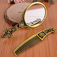 Handle Hollow Bronze Hand Mirror Comb Comb Antique Makeup Mirror Gift with Packaging