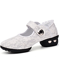 Women's Dance Shoes Sneakers  Lace Low Heel Black/White/Red