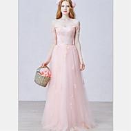 포멀 이브닝 드레스-블러슁 핑크 A-라인 바닥 길이 오프 더 숄더 튤