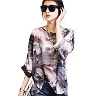 Mulheres Blusa Formal Plus Sizes Todas as Estações,Estampado Preto Algodão Gola Boba Manga Longa Média