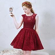 Cocktail Party Dress-Burgundy A-line Jewel Short/Mini Lace