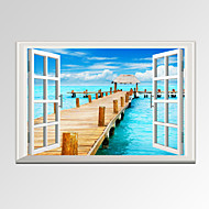 VISUAL STAR®Modern Window View Blue Seascape Canvas Wall Art Ready to Hang