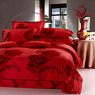 Red 100% Cotton Bedclothes 4pcs Bedding Set Queen Size Duvet Cover Set