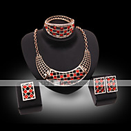 utánzat Diamond luxus ékszer Drágakő Kristály Strassz Arannyal bevont 18K arany utánzat Diamond Ötvözet Fekete Bíbor PirosNyakláncok