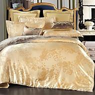 bedtoppings algodão rico jacquard em relevo 4pcs duvet conjunto de tampa