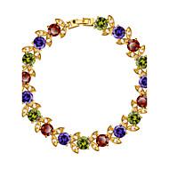 Feminino Pulseiras em Correntes e Ligações Cristal Cristal Zircão Zircônia Cubica Chapeado Dourado Jóias 1peça
