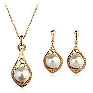 Ékszer szett Gyöngy Gyöngyutánzat Strassz utánzat Diamond Ötvözet luxus ékszer Ezüst Aranyozott Nyaklánc / fülbevaló Napi Hétköznapi 1set